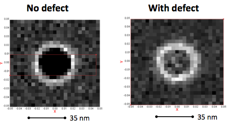 SEM image of contact hole with and without defect