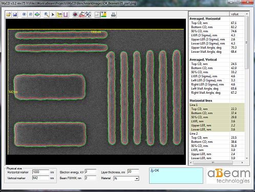myCD screenshot of critical dimension measurement