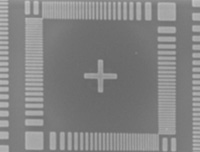 SEM image of the test pattern at large beam size