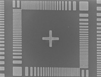 SEM image of the test pattern at small beam size